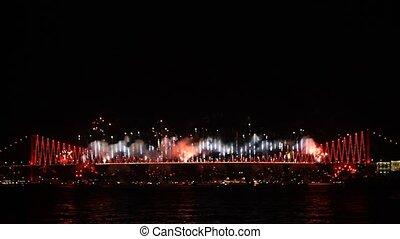 Fire fall show on Bosporus Istanbul
