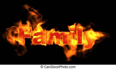 fire family word, fire text.
