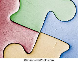 fire, farvet, stykker
