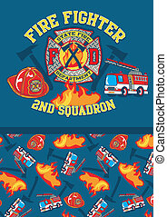 Fire fighter 2nd squadron. Illustrator swatch of repeat...