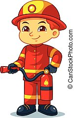 Fire Fighter Boy Ready To Spray With Fire Extinguisher