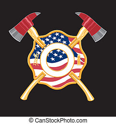 Firefighter cross with embedded flag and crossed axes behind it on a black background. Easy to edit and separate nine color illustration.