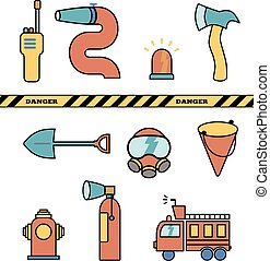 Fire-fighter elements set collection, vector icons