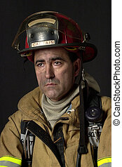 Fire Fighter - Fire fighter in bunker gear - head and...