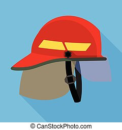 Fire fighter helmet icon, flat style