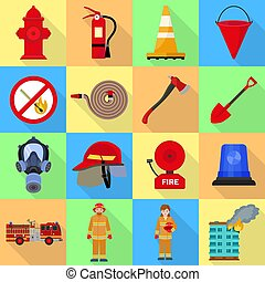 Fire fighter icon set, flat style