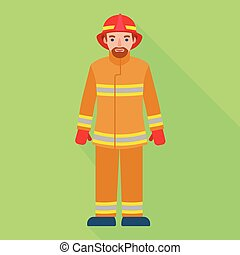 Fire fighter man icon, flat style