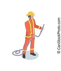 fire-fighter, mann, realistisch, isometrisch, modell, form