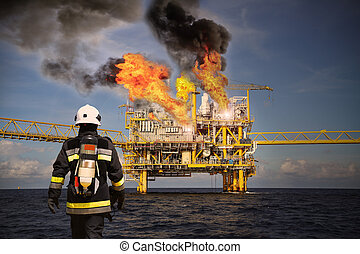 Fire fighter on oil and gas industr