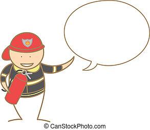fire fighter talking in bubble