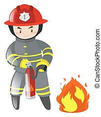 Fire fighter with extinguisher