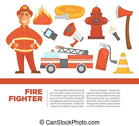 Fire fighter with work equipment on promotional poster. Car...