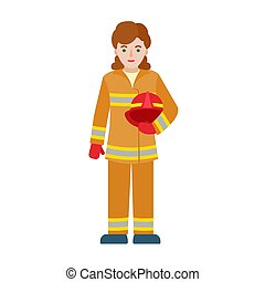 Fire fighter woman icon, flat style