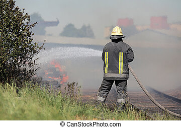 fire fighters at work