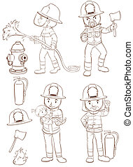 Fire fighters - Illustration of fire fighters and equipments