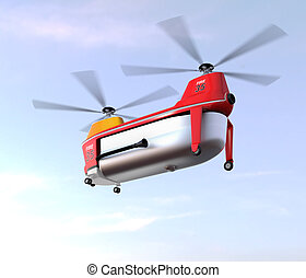 Fire fighting drone in the sky