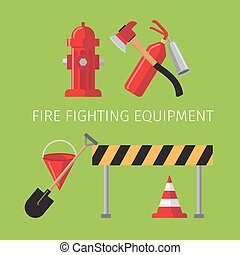 Fire fighting equipment on green background vector...