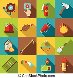 Fire fighting icons set, flat style