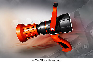 Fire fighting nozzle - Digital illustration of fire fighting...