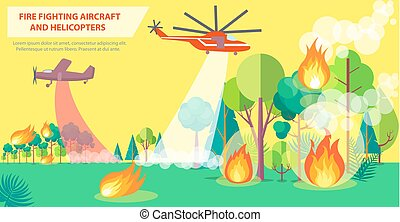 Fire Fighting Poster with Aircraft and Helicopter