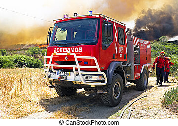 Fire figthers at a big bushfire in Portugal