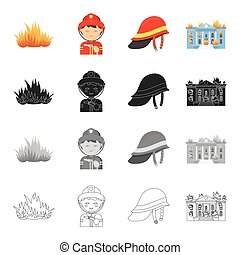 Fire, firemen in uniform, protective helmet, burning building. Fire Department set collection icons in cartoon black monochrome outline style vector symbol stock illustration web.