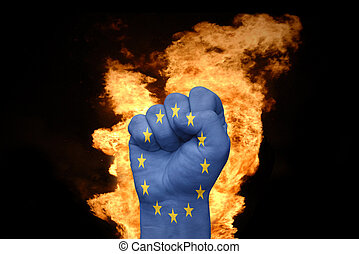 fire fist with the flag of european union