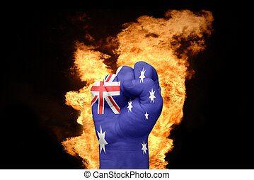 fire fist with the national flag of australia