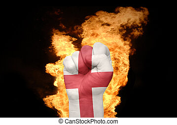 fire fist with the national flag of england