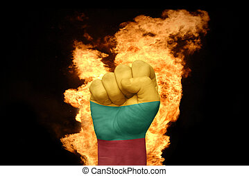 fire fist with the national flag of lithuania