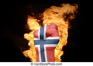 fire fist with the national flag of norway