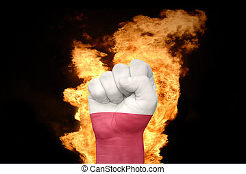fire fist with the national flag of poland