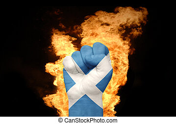 fire fist with the national flag of scotland