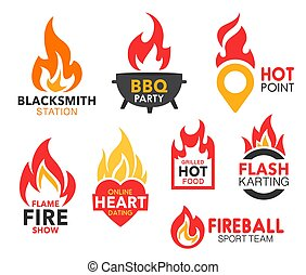 Fire flame vector icons of hot fireballs and burning blaze. Bbq party, grilled food and sport team, fire show, hot point and online heart dating, blacksmith station and flash karting company emblems