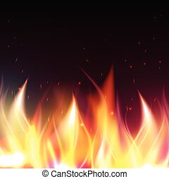 Realistic fire flames vector illustration. Special fire effect. Burn background.