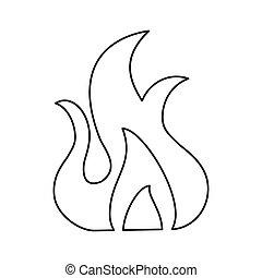 fire flame burn hot design line