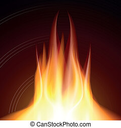 Fire flame burn on black background