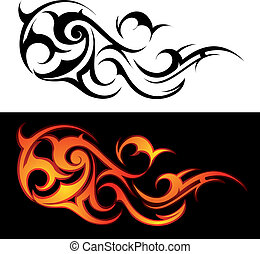 Decorative fire flames isolated on white or black