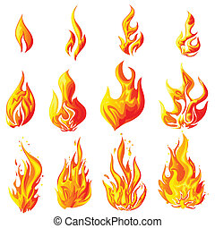 easy to edit vector illustration of fire flame collection