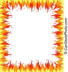 Fire flame frame on white background. Vector illustration