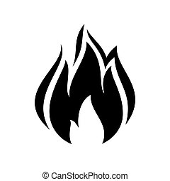 fire flame icon, black icon isolated on white background
