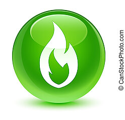 Fire flame icon glassy green round button