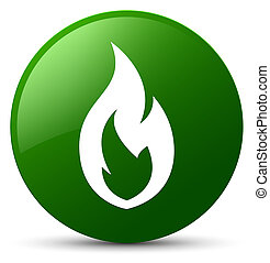 Fire flame icon green round button