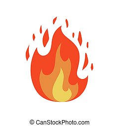 Fire flame icon in cartoon and flat style. Isolated object. Vector illustration.