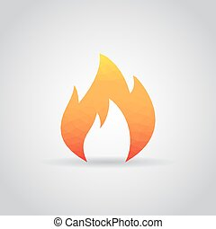 Fire flame icon in polygonal style on a gray background