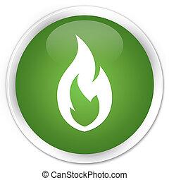 Fire flame icon premium soft green round button