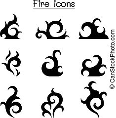 fire, flame icon set