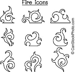 fire, flame icon set in thin line style