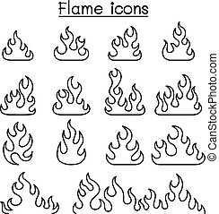 Fire & Flame icon set in thin line style