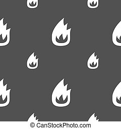 Fire flame icon sign. Seamless pattern on a gray background. Vector